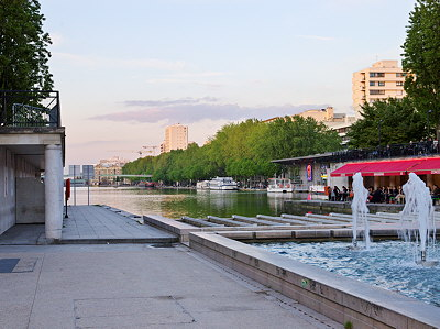 Image from Bassin de la Villette in Paris at dusk time