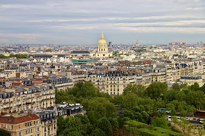 Picture of Paris and the Invalides museum viewed from the Eiffel Tower