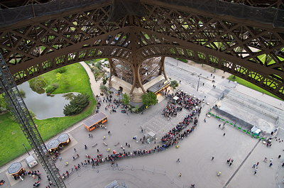 Photo of some tourists waiting to climb the Eiffel tower in Paris