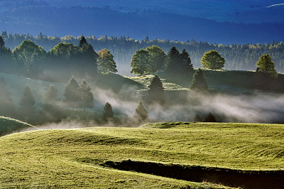 Photograph of a misty landscape in Jura mountains