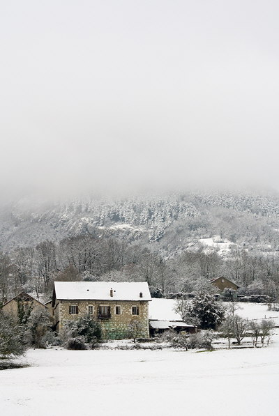 Photograph of a rural landscape after the first snow in Haute Savoie - France