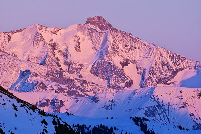 Photograph of Auguille des Glaciers mountain in dusk light