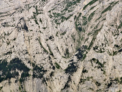 Closeup image of a detail from the rocky face of Bargy mountain in France