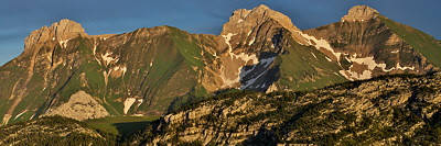 Panoramic image of the mountains of Massif des Bornes in dusk light