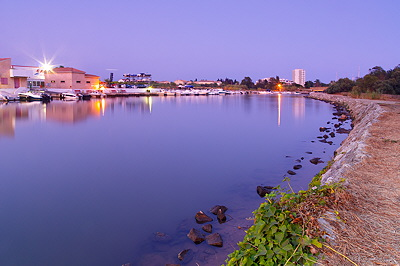 Image of Gapeau river at dusk time in summer