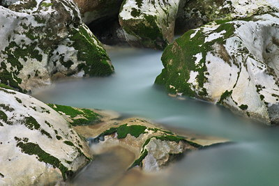 Silky water in the Chéran river - Massif des Bauges natural park