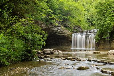 Gour Bleu waterfall in Jura forest