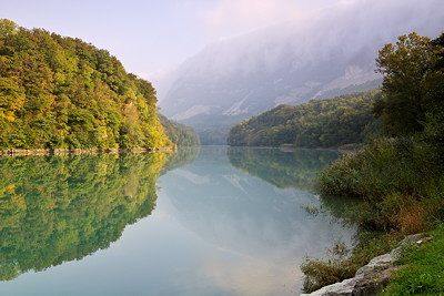 Photograph of the Rhône river by a misty autumn morning