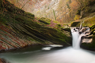 Photograph of an autumn waterfall on Chéran river in Massif des Bauges Natural Park