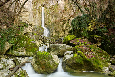 Photograph of Barbennaz waterfall at the end of autumn. Haute Savoie - France