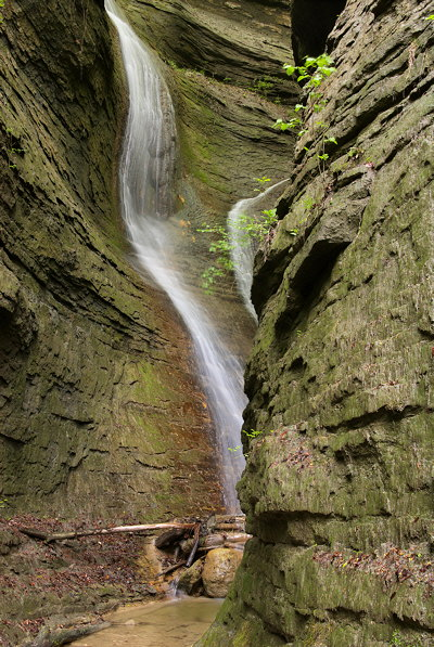Photograph of a double waterfall in a little canyon of Haute Savoie in France