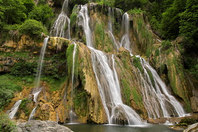 Image of Glandieu waterfall at springtime. France, Ain department.