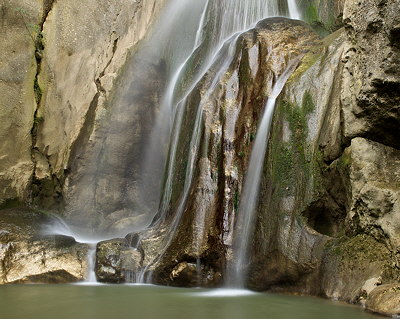Photograph of the lower part of Barbennaz waterfall in Haute Savoie