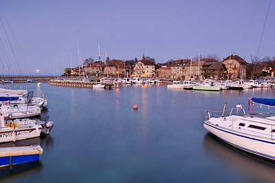 Photograph of Nernier harbour at dusk time