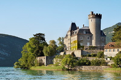 Photo of Duingt castle on Annecy lake in France