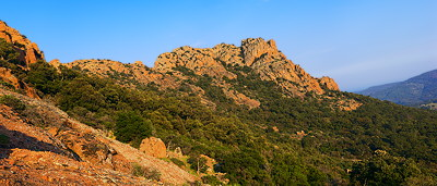 Panoramic landscape of the Rocher de Roquebrune in Provence