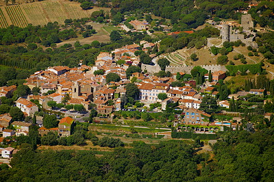 Aerial view of the village of Grimaud in Provence