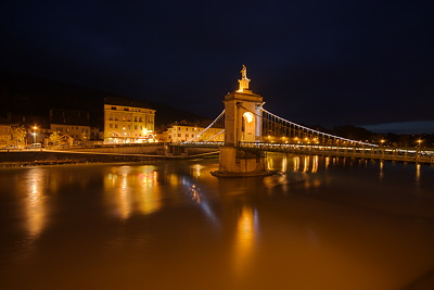 Night on Seyssel bridge and the Rhône river
