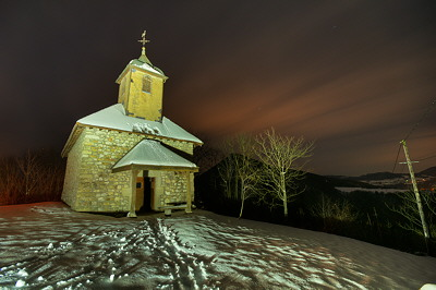 Saint Jean chapel illuminated at night