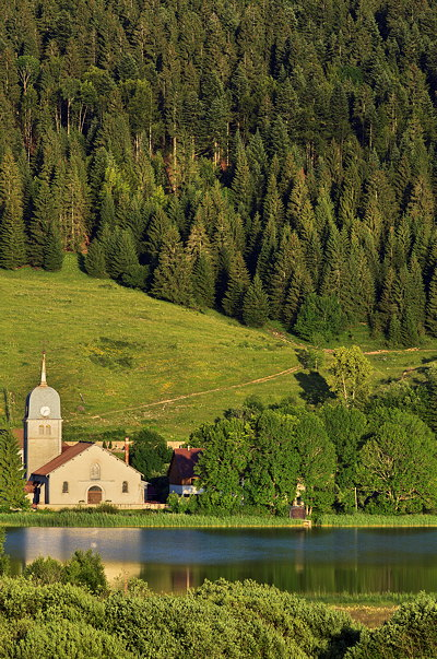 Image of Grande Rivire church near Abbey lake in Haut Jura Natural Park